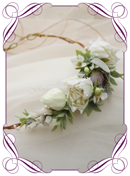 Silk artificial flower girl hair crown halo floral head piece for weddings, birthdays, special event hair design. Communion Confirmation hair flowers head band. Made in Melbourne, Shipping worldwide. buy online