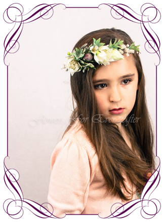 Silk artificial flower girl or bridal hair crown halo floral head piece for weddings, birthdays, special event hair design. Communion Confirmation hair flowers head band. Made in Melbourne, Shipping worldwide. buy online