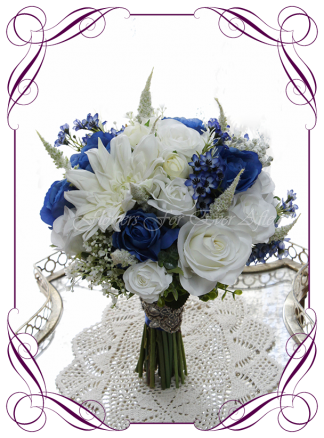 Silk artificial wedding bouquet ideas. Mixed ivory white and blue faux silk bridal bouquet wedding flowers. Roses, peonies, baby's breath. Elegant romantic wedding posy bouquet. Made in Melbourne. Buy online. Shipping worldwide.