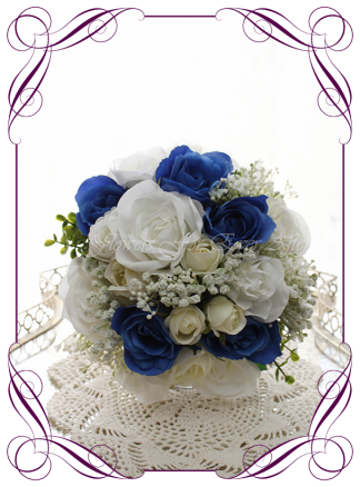 Silk artificial wedding bouquet ideas. Mixed ivory white and blue faux silk bridesmaid bouquet wedding flowers. Roses, peonies, baby's breath. Elegant romantic wedding posy bouquet. Made in Melbourne. Buy online. Shipping worldwide.