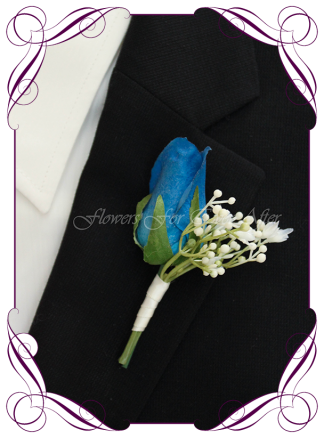 Artificial Faux Bridal Flower Grooms Boutonniere, Silk wedding florist Melbourne. Worldwide Shipping. Gents blue rose flower button