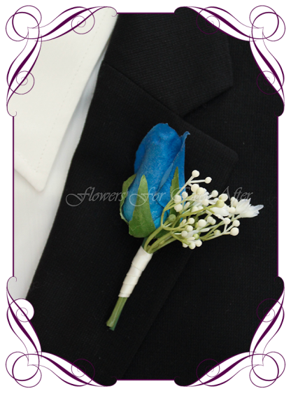 Artificial Faux Bridal Flower Grooms Boutonniere, Silk wedding florist Melbourne. Worldwide Shipping. Gents blue rose flower button