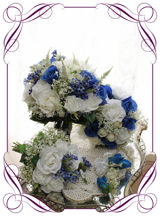 Silk artificial wedding bouquet package / set ideas. Mixed ivory white and blue faux silk bridal bouquet wedding flowers. Roses, peonies, baby's breath. Elegant romantic wedding posy bouquet. Made in Melbourne. Buy online. Shipping worldwide.