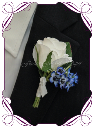 Artificial Faux Bridal Flower Grooms Boutonniere, Silk wedding florist Melbourne. Worldwide Shipping. Gents blue flower button