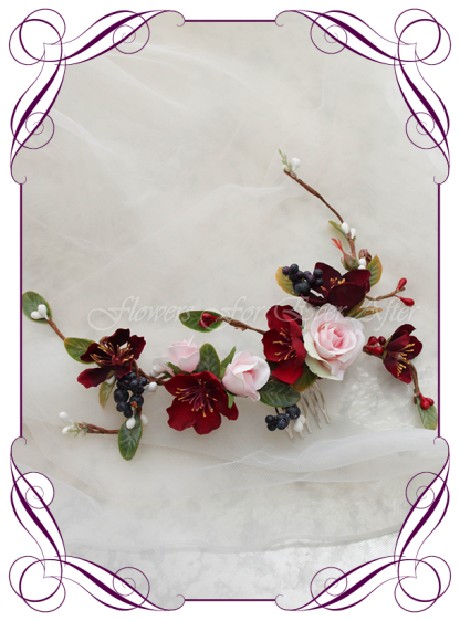 Silk Artificial floral bridal hair vine comb featuring faux flower pink navy and burgundy. Made in Melbourne by Australia's best Silk Florist, worldwide shipping available. Bridal hair style ideas