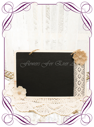 silk artificial decorated blackboard chalk board for weddings, page boy , sign board Made in Australia. Buy online. Shipping world wide