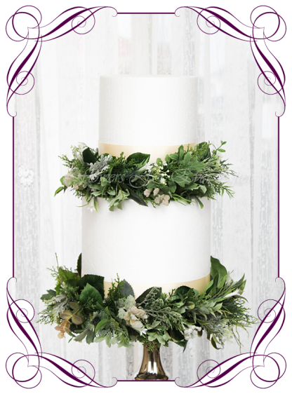 An easy cake decoration, silk artificial preset mixed greenery foliage rings set on faux cake foam. Wedding engagement birthday, communion, confirmation cake decoration ideas. Rustic cake design. Made in Melbourne. Ready to ship world wide.