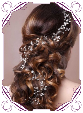 Crystal diamante and pearl silver bridal hair design vine, long length for soft bridal curls or braids. Wedding hair design ideas. Buy online, shipping world wide.