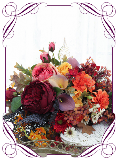 Silk artificial rustic Autumn Fall bridal wedding posy bouquet. Burnt orange, burgundy, orange, coral, brown, black flowers and fall mapel leaves. Made in Australia. Shipped world wide