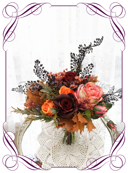 Silk artificial rustic Autumn Fall bridesmaid wedding posy bouquet. Burnt orange, burgundy, orange, coral, brown, black flowers and fall mapel leaves. Made in Australia. Shipped world wide