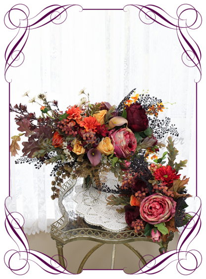 Silk artificial rustic Autumn Fall bridal wedding posy bouquet package set. Burnt orange, burgundy, orange, coral, brown, black flowers and fall mapel leaves. Made in Australia. Shipped world wide