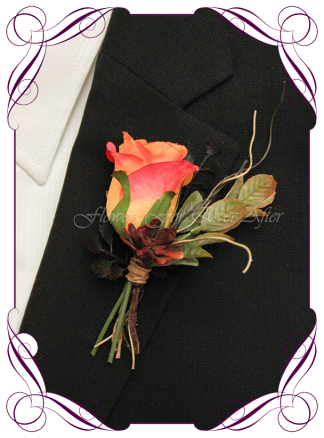 Silk artificial rustic Autumn Fall groom groomsmans mens gents wedding flower button boutonniere. Formals, prom, wedding. Burnt orange, burgundy, orange, coral, brown, black flowers and fall mapel leaves. Made in Australia. Shipped world wide