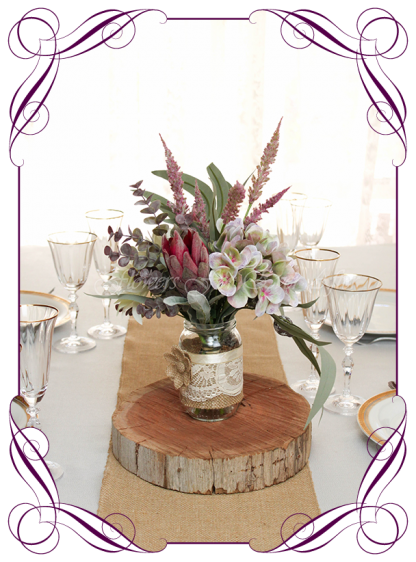 Silk faux flowers rustic boho Australian native gum table centrepiece decorations for a wedding, engagement, birthday party, communion, confirmation, baby shower, shower, ideas. With white dahlia mauve plum hydrangea, burgundy protea for mason jar. Buy online. Made in Australia. Shipping world wide.