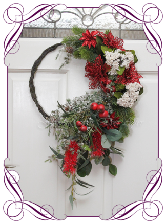 Unusual, unique Christmas table and door seasonal holiday decorations. Red and gold with Australian native Christmas. Made in Australia. Shipping world wide. Buy online, ready for Christmas. Xmas table door decorations. Table Christmas centerpiece, candelabra, door wreath hanger.