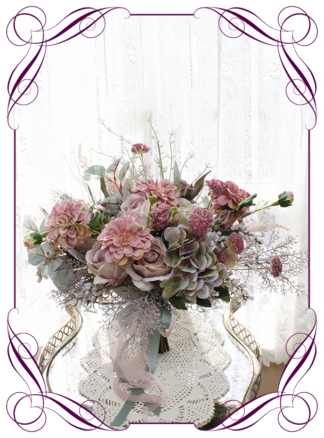 Silk artificial elegant bridal wedding bouquet flowers with mauve pink roses, dusty pink dahlia, whimiscal rustic bogo design ideas, in soft romantic pastel colours Unusual wedding flowers. Made in Melbourne by Australia's best silk florist. Buy online. Shipping worldwide