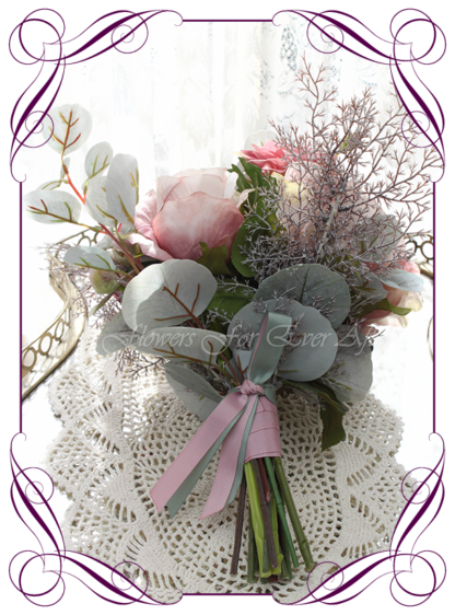 Silk artificial elegant bridesmaids wedding bouquet flowers with mauve pink roses, dusty pink dahlia, whimiscal rustic bogo design ideas, in soft romantic pastel colours Unusual wedding flowers. Made in Melbourne by Australia's best silk florist. Buy online. Shipping worldwide
