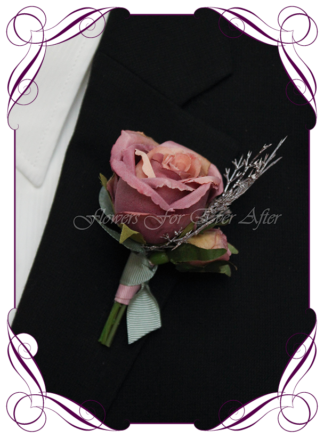 Silk artificial elegant mauve pink rose mens button boutonniere wedding prom formal. Unusual wedding flowers, unusual mens pocket flower, men's fashion. Made in Melbourne by Australia's best silk florist. Buy online. Shipping worldwide