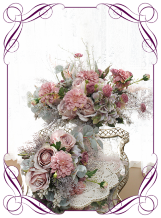 Silk artificial elegant bridal wedding bouquet flowers package set with mauve pink roses, dusty pink dahlia, whimiscal rustic bogo design ideas, in soft romantic pastel colours Unusual wedding flowers. Made in Melbourne by Australia's best silk florist. Buy online. Shipping worldwide