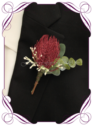Silk artificial boho unusual rustic Australian Native mens button boutonniere wedding prom formal. Burgundy and cream unusual wedding flowers, unusual mens pocket flower. Made in Melbourne by Australia's best silk florist. Buy online. Shipping worldwide