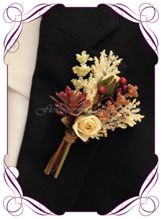 Silk artificial boho unusual rustic mens button boutonniere wedding prom formal. Burgundy and cream unusual wedding flowers, unusual mens pocket flower. Made in Melbourne by Australia's best silk florist. Buy online. Shipping worldwide