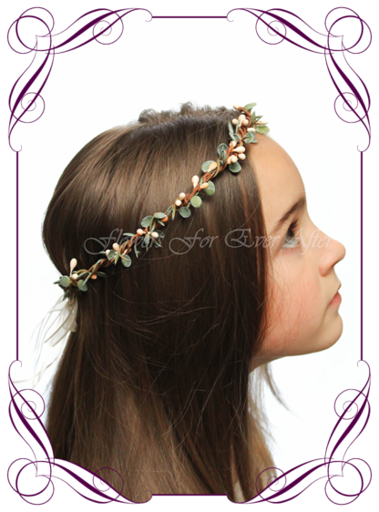 Silk artificial faux cream and green hair halo / crown design. Dainty sweet simple hair crown wreath for flowergirl, bridesmaid bride, bridal hair ideas. Made in Melbourne by Australia's best wedding florist. Buy online.