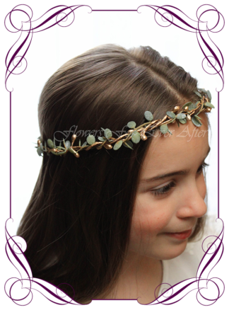 Silk artificial faux gold and green hair halo / crown design. Dainty sweet simple hair crown wreath for flowergirl, bridesmaid bride, bridal hair ideas. Made in Melbourne by Australia's best wedding florist. Buy online.