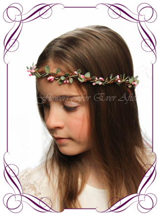 Silk artificial faux pink and green hair halo / crown design. Dainty sweet simple hair crown wreath for flowergirl, bridesmaid bride, bridal hair ideas. Made in Melbourne by Australia's best wedding florist. Buy online.
