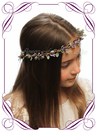Silk artificial faux purple and green hair halo / crown design. Dainty sweet simple hair crown wreath for flowergirl, bridesmaid bride, bridal hair ideas. Made in Melbourne by Australia's best wedding florist. Buy online.