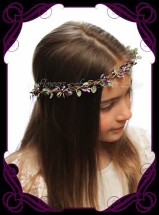 Silk artificial faux purple and green hair halo / crown design. Dainty sweet simple hair crown wreath for flowergirl, bridesmaid bride, bridal hair ideas. Made in Melbourne by Australia's best wedding florist. Buy online.