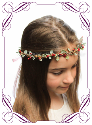 Silk artificial faux red and green hair halo / crown design. Dainty sweet simple hair crown wreath for flowergirl, bridesmaid bride, bridal hair ideas. Made in Melbourne by Australia's best wedding florist. Buy online.