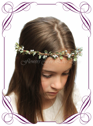 Silk artificial faux silver and green hair halo / crown design. Dainty sweet simple hair crown wreath for flowergirl, bridesmaid bride, bridal hair ideas. Made in Melbourne by Australia's best wedding florist. Buy online.