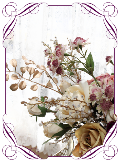A Gorgeous Silk Artificial Bridal Bouquet posy, featuring faux flower roses, gold leaves, australian natives, and textures in a romantic elegant and unusual bridal style, blush pink burgundy gold cream dusty pink wedding flowers, traditional wedding bouquets. Made in Melbourne by Australia's Best Artificial Bridal Florist. Worldwide Shipping available