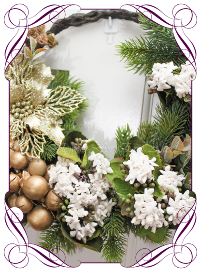 Unusual, unique Christmas table and door seasonal holiday decorations. Rustic gold Christmas. Made in Australia. Shipping world wide. Buy online, ready for Christmas. Xmas table door decorations. Table Christmas centerpiece, candelabra, door wreath hanger.
