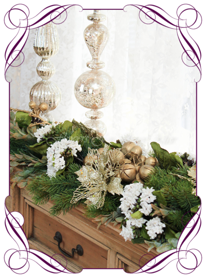 Gold Christmas Garland, Rustic Christmas table Centerpiece, Unusual, unique Christmas table and door seasonal holiday decorations. Rustic gold Christmas. Made in Australia. Shipping world wide. Buy online, ready for Christmas. Xmas table door decorations. Table Christmas centerpiece, candelabra, door wreath hanger.