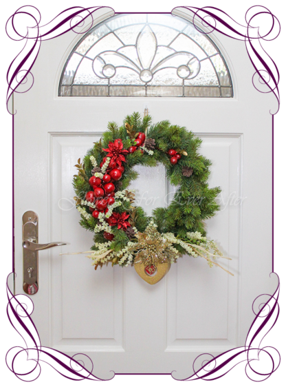 Unusual, unique Christmas table and door seasonal holiday decorations. Rustic Read and gold heart Christmas. Made in Australia. Shipping world wide. Buy online, ready for Christmas. Xmas table door decorations. Table Christmas centerpiece, candelabra, door wreath hanger.