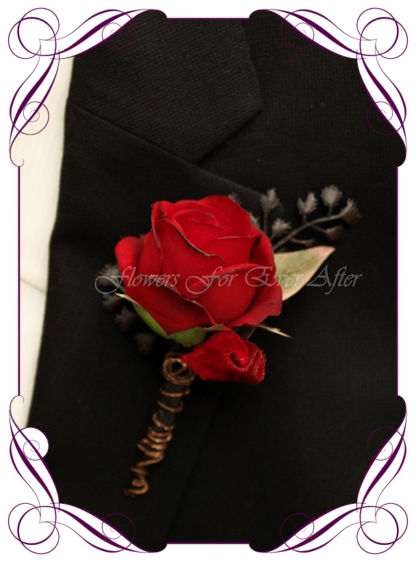 Silk artificial dark moody red, and black mens button boutonniere wedding prom formal. Rose, unusual wedding flowers, unusual mens pocket flower. Gothic wedding, gothic bridal flowers. Made in Melbourne by Australia's best silk florist. Buy online. Shipping worldwide