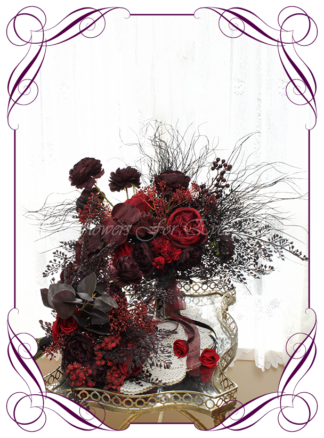 Silk artificial dark moody red, dark plum, and black wedding bridal bouquet posy package set. Roses, peonies, unusual wedding flowers, unusual bouquet. Gothic wedding, gothic bridal flowers. Made in Melbourne by Australia's best silk florist. Buy online. Shipping worldwide