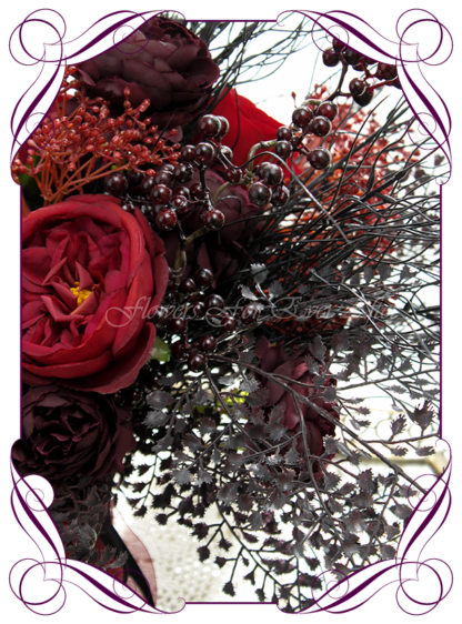 Silk artificial dark moody red, dark plum, and black wedding bridal bouquet posy. Roses, peonies, unusual wedding flowers, unusual bouquet. Gothic wedding, gothic bridal flowers. Made in Melbourne by Australia's best silk florist. Buy online. Shipping worldwide
