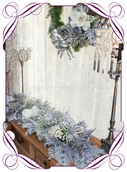 Silver Christmas Garland, blue Christmas table centerpiece, Unusual, unique Christmas table and door seasonal holiday decorations. Silver, blue, mauve, baby blue, white Christmas. Made in Australia. Shipping world wide. Buy online, ready for Christmas. Xmas table door decorations. Table Christmas centerpiece, candelabra, door wreath hanger.