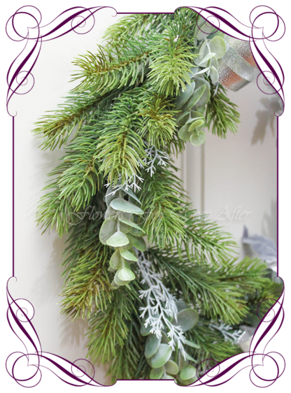 Unusual, unique Christmas table and door seasonal holiday decorations. Silver, blue, mauve, baby blue, white Christmas. Made in Australia. Shipping world wide. Buy online, ready for Christmas. Xmas table door decorations. Table Christmas centerpiece, candelabra, door wreath hanger.
