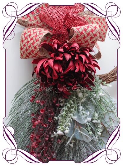 Unusual, unique Christmas table and door seasonal holiday decorations. Silver, burgundy, blue gum Australian native gum, berries and pine cones Christmas. Made in Australia. Shipping world wide. Buy online, ready for Christmas. Xmas table door decorations. Table Christmas centerpiece, candelabra, door wreath hanger.