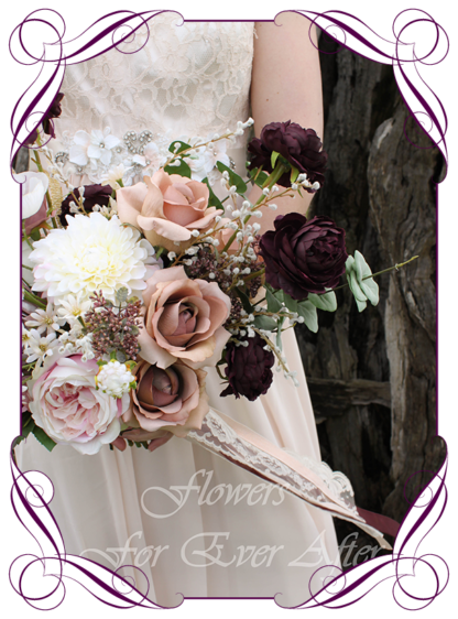 A Gorgeous Silk Artificial Bridal Bouquet posy, featuring faux flower roses, ranunculus, dahlia, protea and textures in a romantic moody and unusual bridal style, blush pink dark plum cream dusty pink cappuccino tan brown wedding flowers, wedding bouquets. Made in Melbourne by Australia's Best Artificial Bridal Florist. Worldwide Shipping available