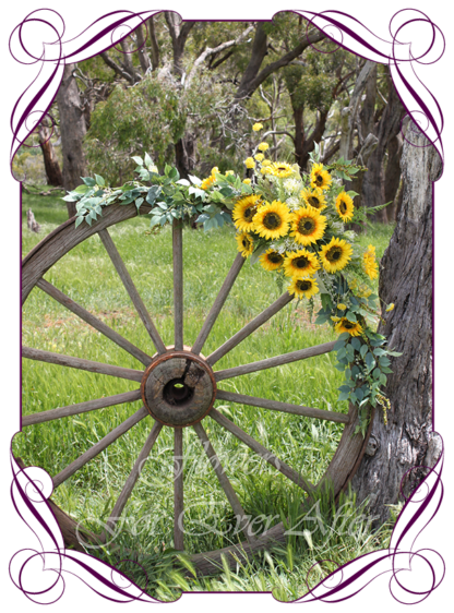A Gorgeous Silk Artificial yellow sunflower arbor arch wedding table decoration featuring faux flower sunflowers, and textures, gum leaves eucalypt, in a romantic elegant and unusual rustic style, rustic boho wedding decoration. Made in Melbourne by Australia's Best Artificial Bridal Florist. Worldwide Shipping available