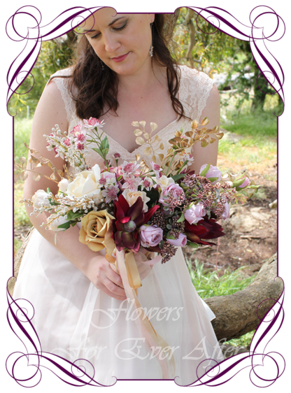 A Gorgeous Silk Artificial Bridal Bouquet package set, featuring faux flower roses, gold leaves, australian natives, and textures in a romantic elegant and unusual bridal style, blush pink burgundy gold cream dusty pink wedding flowers, traditional wedding bouquets. Made in Melbourne by Australia's Best Artificial Bridal Florist. Worldwide Shipping available
