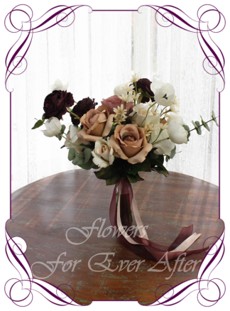 A Gorgeous Silk Artificial Bridesmaids Bouquet posy, featuring faux flower roses, ranunculus, dahlia, protea and textures in a romantic moody and unusual bridal style, blush pink dark plum cream dusty pink cappuccino tan brown wedding flowers, wedding bouquets. Made in Melbourne by Australia's Best Artificial Bridal Florist. Worldwide Shipping available