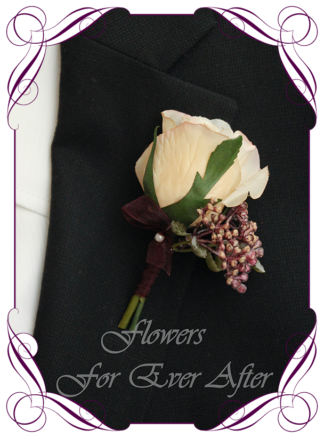 A Gorgeous Silk Artificial boho groomsman, gents, mens button boutonniere for wedding, formal, prom. Cream rose and burgundy berries. Made in Melbourne by Australia's Best Artificial Bridal Florist. Worldwide Shipping available
