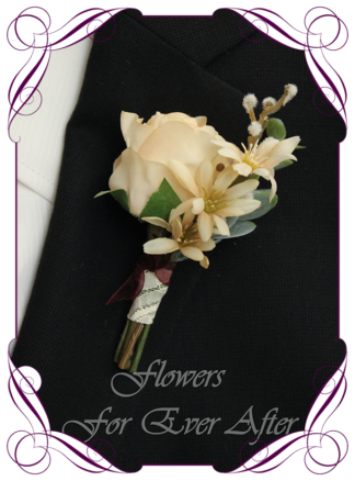 A Gorgeous Silk Artificial boho groom, gents, mens button boutonniere for wedding, formal, prom. Cream rose and cluster flowers. Made in Melbourne by Australia's Best Artificial Bridal Florist. Worldwide Shipping available