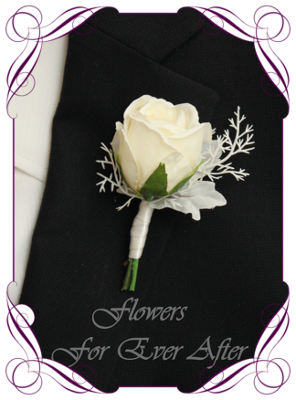 A Gorgeous Silk Artificial Romantic groomsman, gents, mens button boutonniere for wedding, formal, prom. White rose and white maple leaf. Made in Melbourne by Australia's Best Artificial Bridal Florist. Worldwide Shipping available