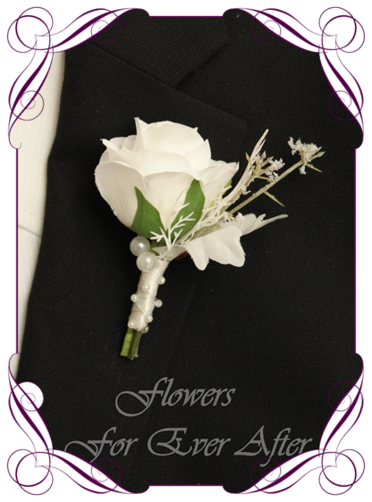 A Gorgeous Silk Artificial Boho Whimsical Romantic grooms, mens button boutonniere for wedding, formal, prom. White rose and white maple leaf with pearls. Made in Melbourne by Australia's Best Artificial Bridal Florist. Worldwide Shipping available
