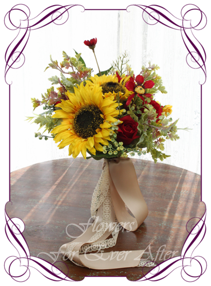 Gorgeous silk artificial yellow sunflower and red daisy boho country rustic bridal wedding bouquet posy set / package. Made in Melbourne. Shipping worldwide